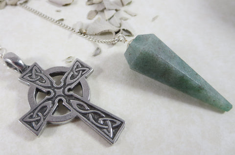 Green Aventurine Celtic Cross Pendulum
