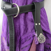 Black or Brown Leather Medieval Skirt Hikes with Pentacle Accent