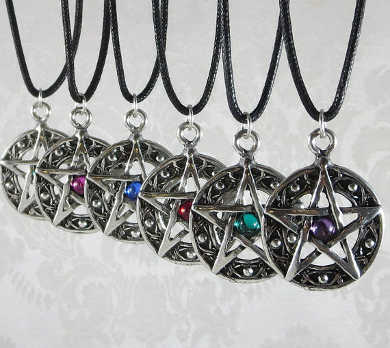 Pewter Pentacle with Assorted Crystal Cabochon Pendant Necklace