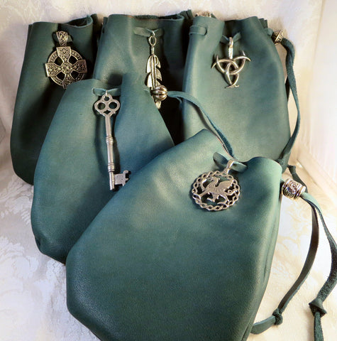 Green Leather Drawstring Pouch with Pewter Accent