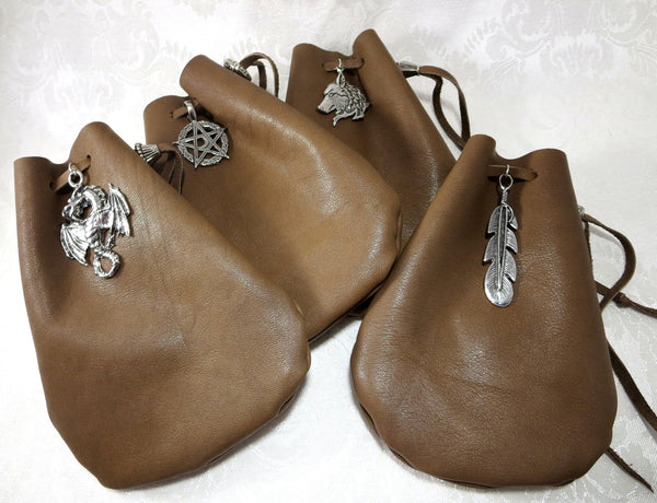 Brown Leather Drawstring Pouch, Dice Bag with Pewter Accent
