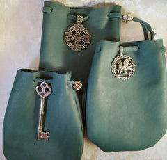 Green Leather Drawstring Pouch