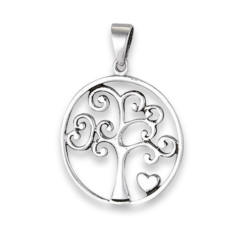 Tree of Life with Heart Sterling Silver Pendant