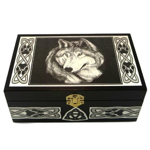 Wolf Box with Celtic Knots by Melanie Fuller