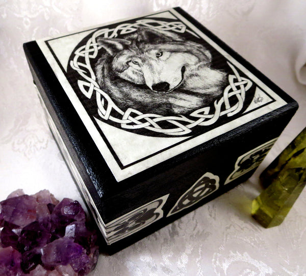 Decorative Celtic Wolf Box