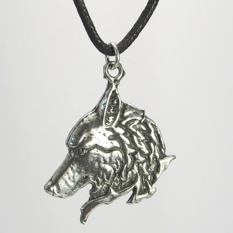 Mystic Wolf Pewter Pendant Necklace