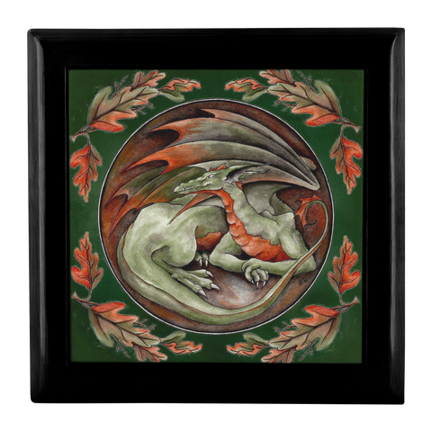 Top of Black Wooden Box with Green Dragon