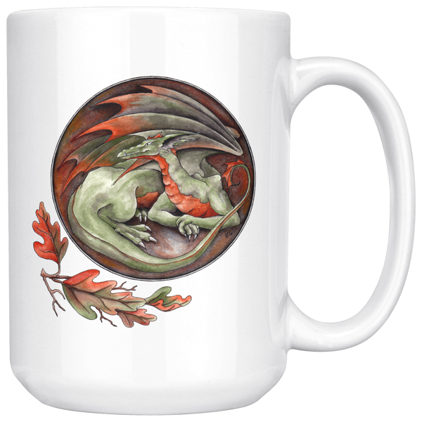 Green and Orange All Curled Up Dragon 15 oz Mug