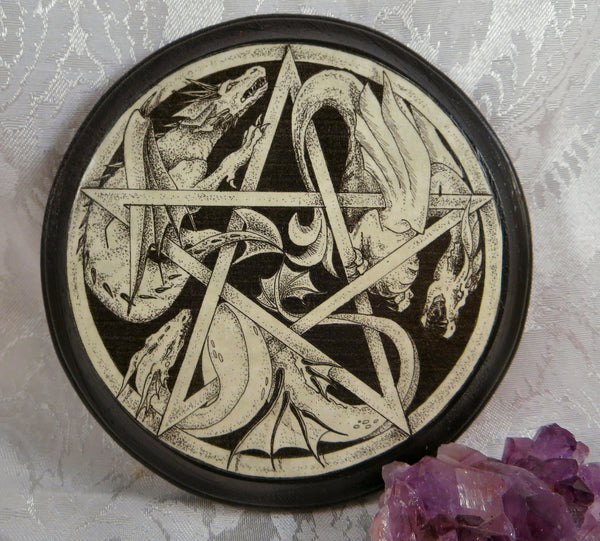 Dragon pentacle altar tile paton plaque pagan wiccan wall for Altar wall decoration