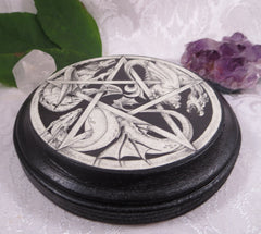 Dragon Pentacle Altar Tile Paton Plaque, Pagan Wiccan Wall Art Decor