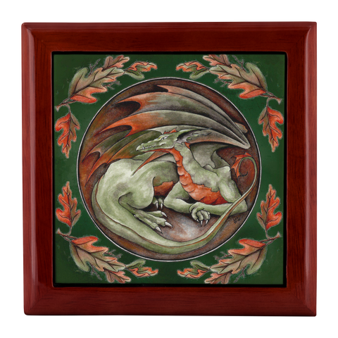 Autumn Earth Dragon Jewelry Keepsake Wooden Box