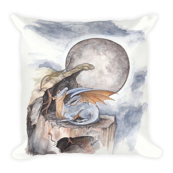 Blue Dragon with Full Moon Art Square Pillow