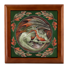 Oak color green dragon Jewelry Box