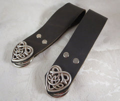 Pair of black leather skirt chasers with Celtic Heart