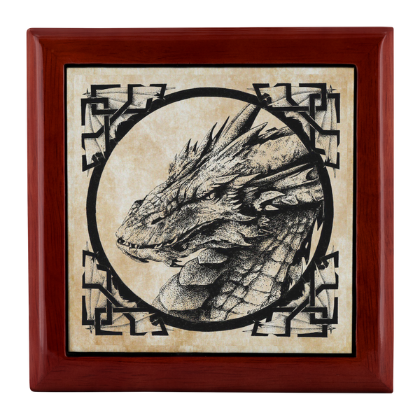 Guardian Dragon Artwork Wooden Jewelry Trinket Box