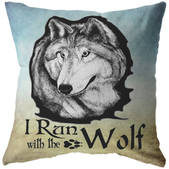 I Run With The Wolf Throw Pillow