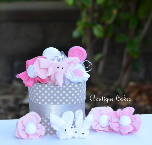 Pink and Gray Elephant Bunny Diaper Cupcake Baby Gift