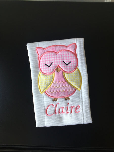 Girl Owl Pink Yellow Embroidered Burp Cloth