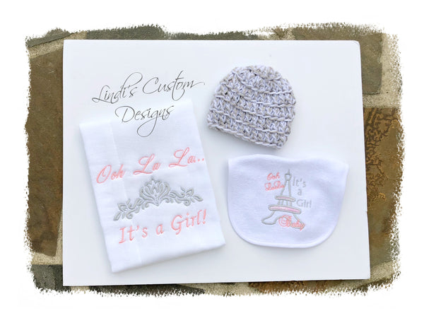 Paris Theme Embroidered Baby Gift Set