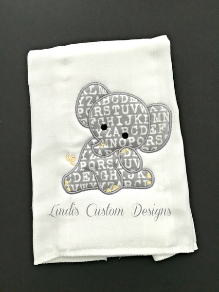 Embroidered Neutral Elephant Burp Cloth