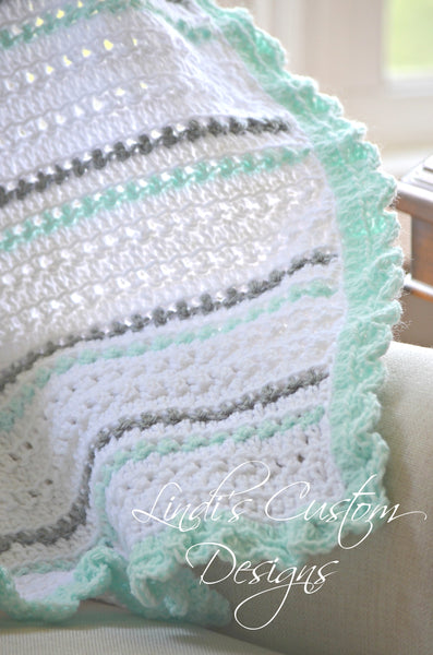 Crochet Baby Blanket Mint Gray