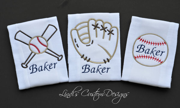 Baseball Embroidered Burp Cloth Set