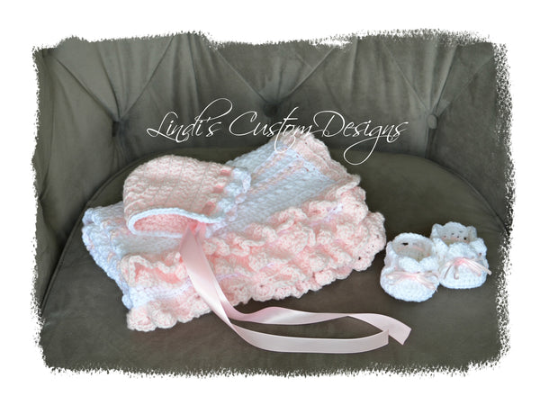 Baby Girl Hand Crochet Gift Set Pink White