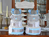 Twin Elephant Diaper Cake Table Centerpiece Gift Set