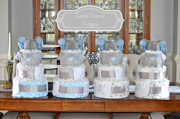 Quadruplet Elephant Diaper Cake Baby Gift or Shower Decor