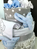 Blue Grey Elephant Diaper Cake with Receiving Blankets, Embroidered Bib, Baby Socks and Washcloths