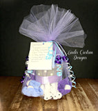Purple Gray Elephant Mini Diaper Cupcake Gift