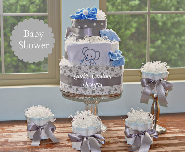 Elephant Silvery Gray and Blue Baby Shower Centerpiece Gift Set