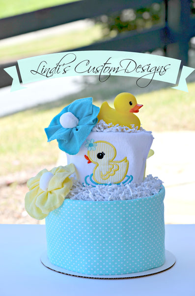Boy Splish Splash Ducky Diaper Cake