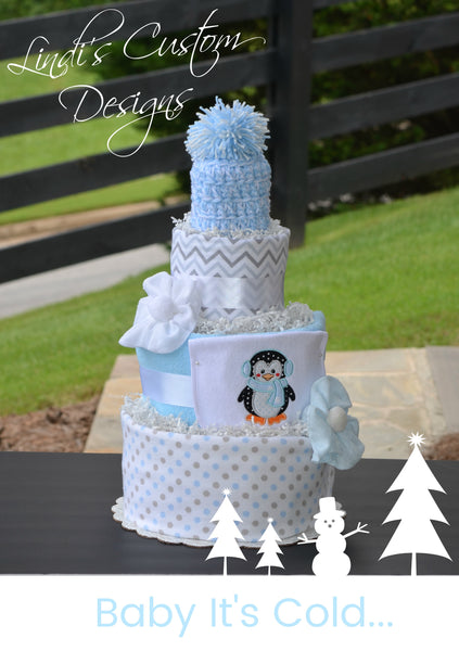 Penguin Diaper Cake Baby It's Cold