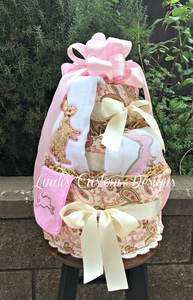 Bunny Rabbit Paisley Custom Diaper Cake