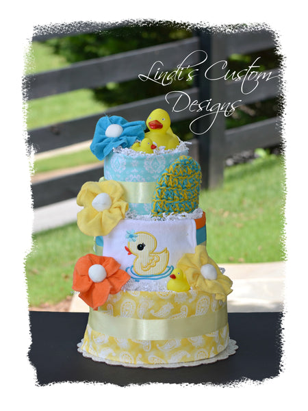 Deluxe Neutral Bath Time Duck Diaper Cake