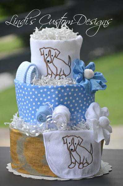 Boy Diaper Cake Puppy Dog Embroidered