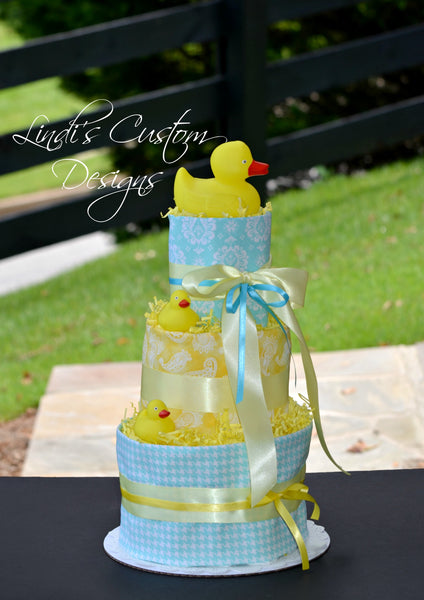 Neutral Bath Time Duck Diaper Cake