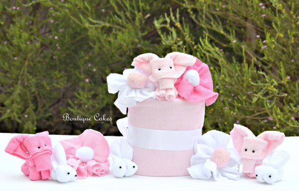 Girl Mini Diaper Cake Display Bunnies Elephants