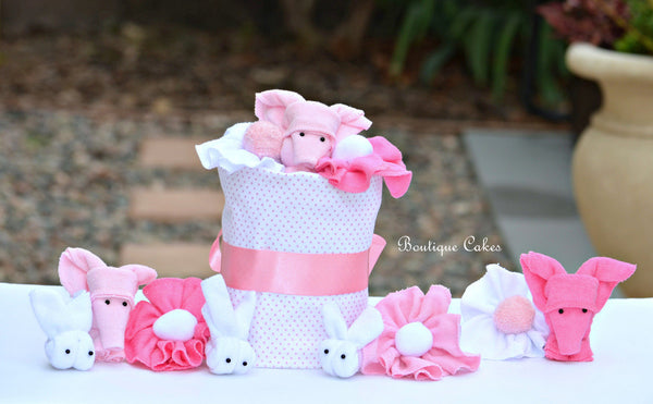 Girl Elephant Bunny Mini Diaper Cake Display