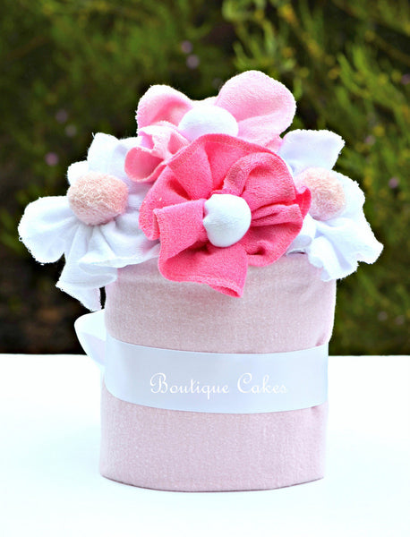 Baby Girl Light Pink Diaper Cupcake with Blooms