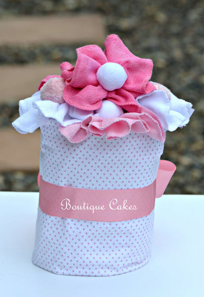 Girl Mini Diaper Cake Pink White