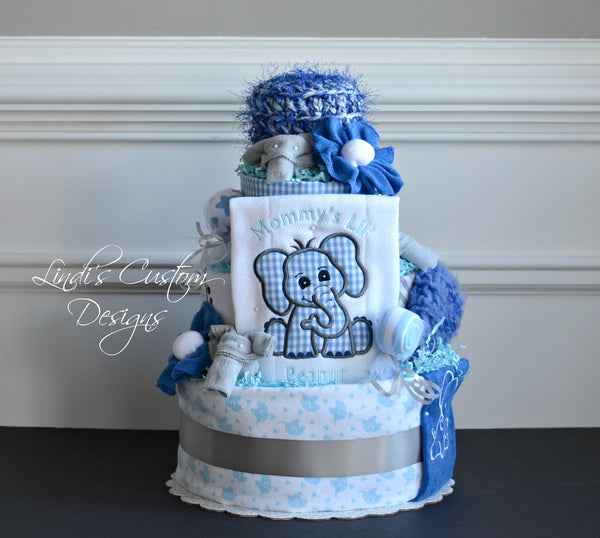 Elephant Peanut Blue Gray Diaper Cake