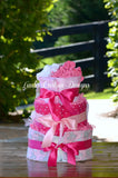 Elephant Pink Gray Girl Diaper Cake