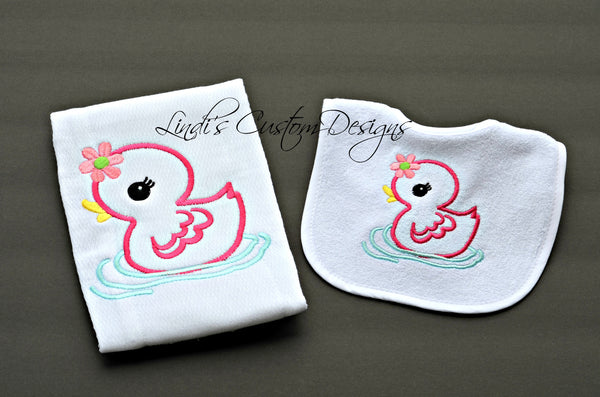 Girl Ducky Embroidered Bib Burp Set