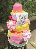 Girl Bath Time Rubber Ducky Diaper Cake