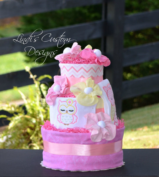 Girl Owl Diaper Cake in Pink and Yellow