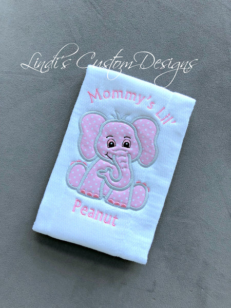 Girl Baby Gift Pink Elephant Burp Cloth