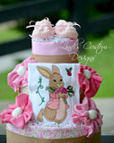 Girl Embroidered Bunny Diaper Cake