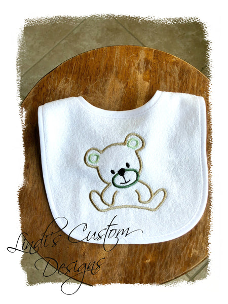 Neutral Teddy Bear Embroidered Bib